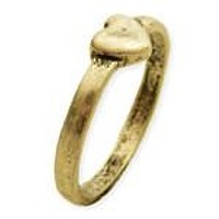 Antiqued Gold Heart Midi Ring