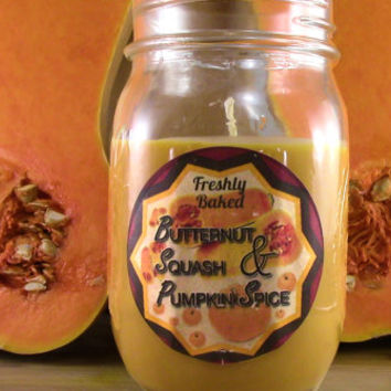 Butternut Squash & Pumpkin Spice Soy Candle (Winter Scent, Vegan, Orange, No Phthalates) Recycled Material. Holiday Gift Idea, Christmas