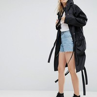 ASOS Rain Parka with Side Eyelet Detail at asos.com