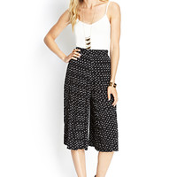 LOVE 21 Woven Pleated Culottes Black/Ivory