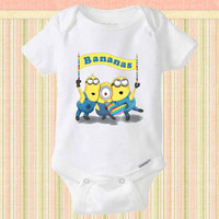 Minion Despicable me Bananas baby Onesuit, Minion baby shirt, Funny Baby Clothes, Baby Shirt, Baby Onesuit, Cute Baby Clothing, baby gift