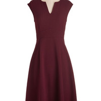 Scholastic Long Cap Sleeves A-line Job Swell Done Dress in Burgundy
