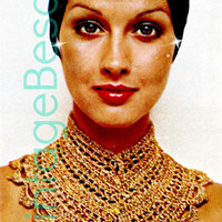 CLEOPATRA COLLAR 1970s Vintage Crochet Pattern from Vintage Beso super short pattern for Costume Piece that is Jewelry-Like Halloween Party