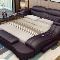 Leather LED Light Bedroom  Storage Furniture Bed