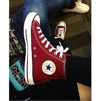 Converse Wine red Fashion Canvas Flats Sneakers Sport Shoes High tops
