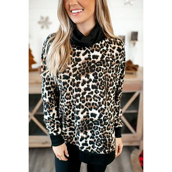 Ribbed Cowl Pullover (Leopard) DOORBUSTER