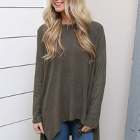 Olive Hi-Low Ribbed Sleeve Top