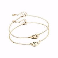 Partners in Crime BFF Matching Heart Pendant Bracelet Set