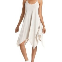 White Combo Ribbed & Striped Trapeze Dress by Charlotte Russe