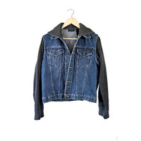 Custom Denim Hoodie Hooded Jean Hipster Grunge Style Jacket