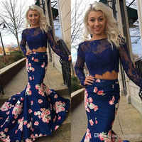 Navy Blue 2016 Printed Flower Two Pieces Prom Dresses Long Sleeves Formal Gowns Mermaid Evening Party Dress For Women EV65