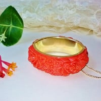 Coral Red Orange Deeply Carved Celluloid Roses Flower Bangle Bracelet Vintage Hinged Safety Chain Goldtone Metal Inside Mint Costume Jewelry