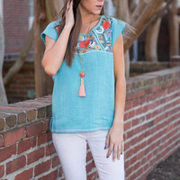 Botanic And Bliss Top, Turquoise