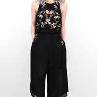 Wide Leg Cropped Jumpsuit w/ Floral Embroidery {Black}