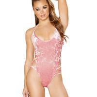 Crushed Velvet Side Lace Up Rave Bodysuit