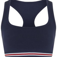 Jersey Sporty Crop Top - Navy Blue