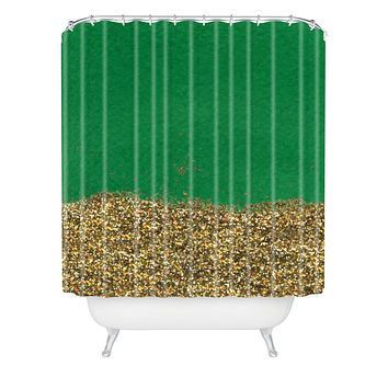 Social Proper Dipped In Gold Emerald Shower Curtain
