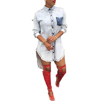 Womens Casual Blue Denim Jeans Shirt Blouse Top Party Club Mini Dress Long Sleeve Shirt Dress1STL SN9