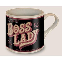 Boss Lady Mug in Black and Pink | Vintage Style | Design on Both Sides | In a Gift Box