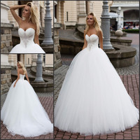 Princess Ball Gown Pretty Tulle Wedding Dress Vestidos De Novia 2017 Casamento Bride Wedding Dress New Beading Off the shoulder