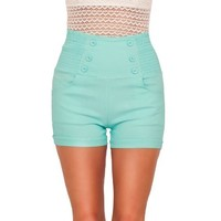 High Waisted Sophisticated Trendy Chic Front Button Vintage Inspired Shorts (Medium, Peach Cobbler)