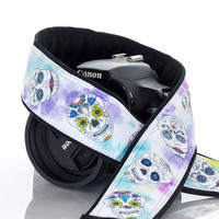 dSLR Camera Strap, OOAK Sugar Skulls, Dia de los Muertos, Day of the Dead, SLR, 260