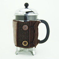 Bodum Cover in Upcycled Wool - Large French Press Coffee Cozy - Brown Chocolate