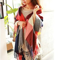 Wander Agio Women's Fashion Long Shawl Big Grid Winter Warm Lattice Large Scarf Red