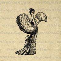 Classy Woman Antique Printable Graphic Download Old Fashioned Lady Image Digital Vintage Clip Art for Transfers HQ 300dpi No.1666