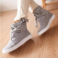 Canvas Casual Flat Solid Woman Boot