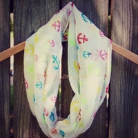 Smooth Sailing White Anchor Infinity Scarf