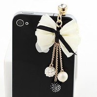 Earphone Jack Accessory Beige Bow Colored Small Beads Cell Charms Dust Plug Ear Jack For Audio Headphone / Iphone 4 4S 5S 5C 6 / Samsung Galaxy S2 S3 S4 Note I9220 / HTC / Sony / Nokia / Motorola / LG / Lenovo / iPad / iPod Touch / Other 3.5mm Ear Jack