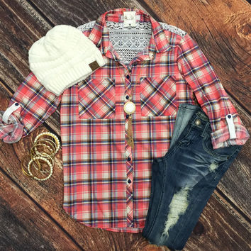 Just a Tease of Lace Plaid Flannel Top