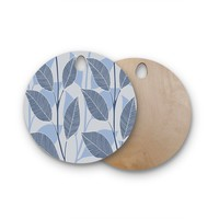 """julia grifol """"Leaves In Blue"""" Blue Gray Floral Pattern Vector Round Wooden Cutting Board"""