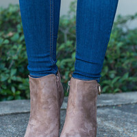 Talk Sassy To Me Booties, Taupe