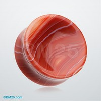 A Pair of Red Stripe Agate Concave Stone Double Flared Plug
