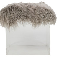 Curly Lucy Ottoman, Gray, Acrylic / Lucite, Ottomans