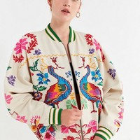 UO Peacock Paradise Cross-Stitch Bomber Jacket | Urban Outfitters