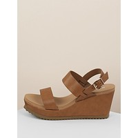 Thick Two Band Slingback Platform Wedges