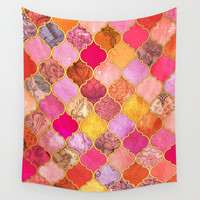 Hot Pink, Gold, Tangerine & Taupe Decorative Moroccan Tile Pattern Wall Tapestry by Micklyn