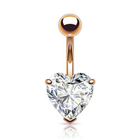 "Heart Shaped Rose Gold 14kt Plated CZ Belly Button Ring 316L 14g Navel Ring (11mm (0.43"") width heart)"