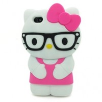 HJX Hot Pink iPhone 4/4S Lovely 3D Glasses Hello Kitty Soft Silicone Case Protective Cover Skin for Apple iPhone 4 4S 4G