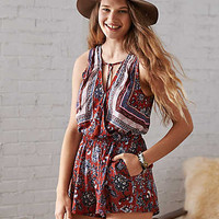AEO Floral Wrap Front Romper, Rust
