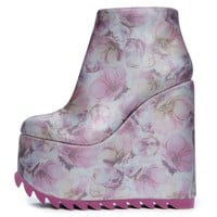 YRU Dimension Women's Lavender Floral Platform Wedged Booties