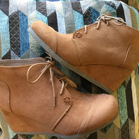 Saharan Wedge Booties in Camel