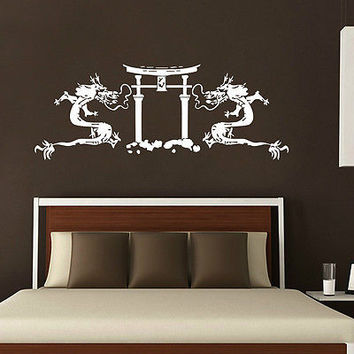 DRAGONS WALL DECALS TORII AND ASIAN DECAL VINYL STICKER HOME DECOR MURALS  N202