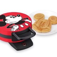 Disney Classic Red Non-Stick Mickey Mouse Waffle Maker 800 Watts