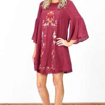 Floral Embroidered Bell Sleeve Shift Dress {Maroon}