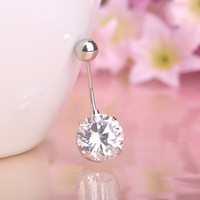White Round Rhinestone Belly Button Ring - Nave Ring - Fashion Zirconia
