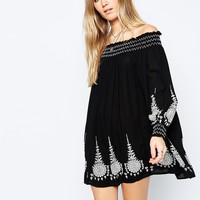 ASOS Premium Off Shoulder Swing Dress with Embroidery